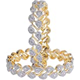 Jewels Galaxy Designer American Diamond Gold Plated Bangles for Women/Girls