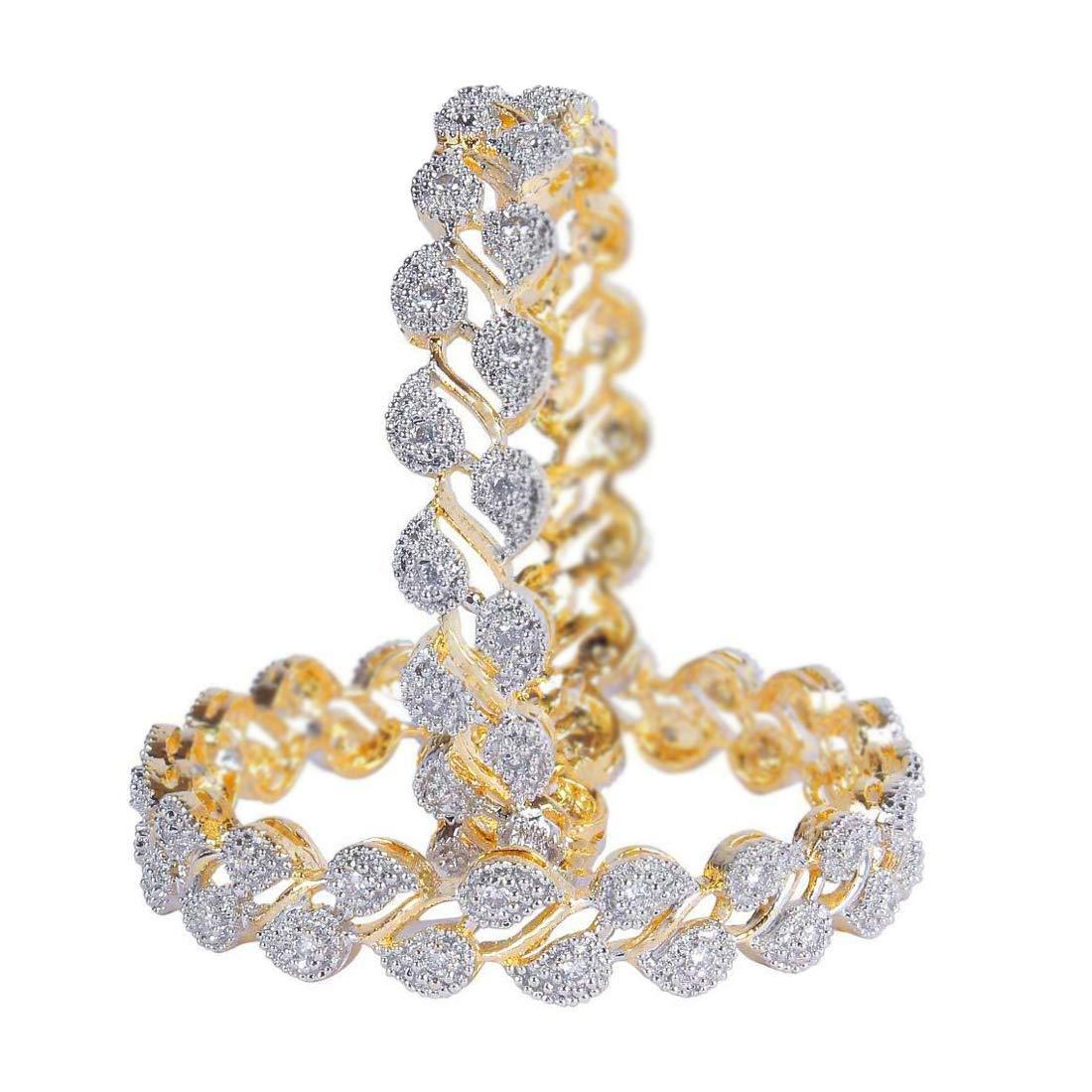 Jewels Galaxy Designer American Diamond Gold Plated Bangles