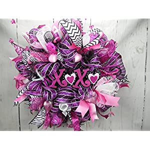 XOXO Valentines Day Wreath, Hugs and Kisses Decor, Pink Black and White Wreath, Valentines Day Decor, Love Wreath, Cupid Wreat 78