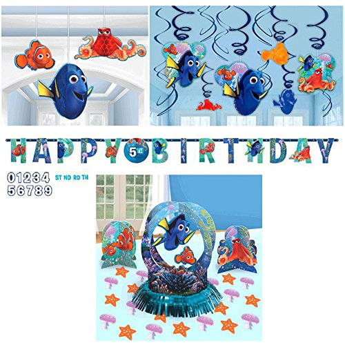 Finding Dory Birthday Decorations Party Supplies Pack | Table Decorating Kit, Happy Birthday Letter Banner, Hanging Swirls, and Hanging 3D Honeycomb Decorations | Celebrate With Nemo, Marlin, And Dory