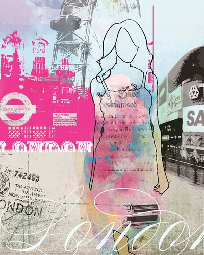 Wheatpaste Art Collective City Girl London by Natalie Alexander Canvas Wall Art, 18 by 24-Inch