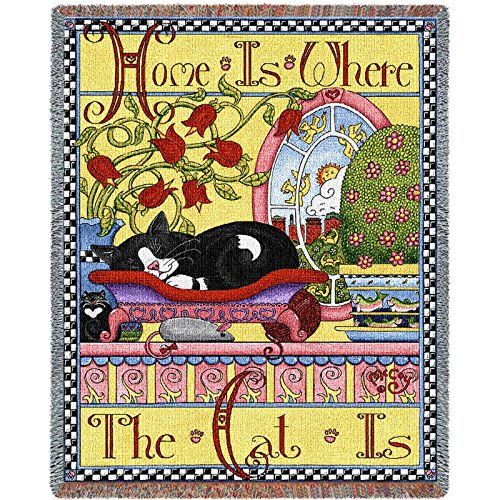 Home is Where the Cat Is Cotton Tapestry Throw Blanket Rug Afghan New Gift