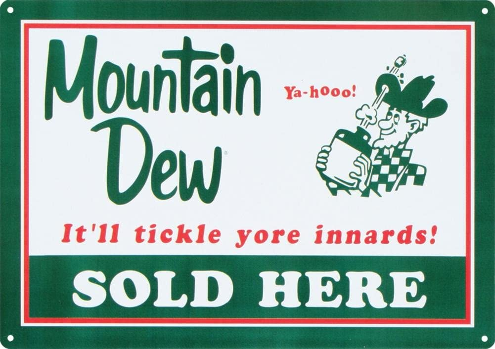 Mountain Dew Soda Sold Here Tin Sign 12 x 17in