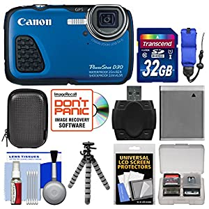 Canon PowerShot D30 Shock & Waterproof GPS Digital Camera with 32GB Card + Case + Battery + Flex Tripod + Float Strap + Kit