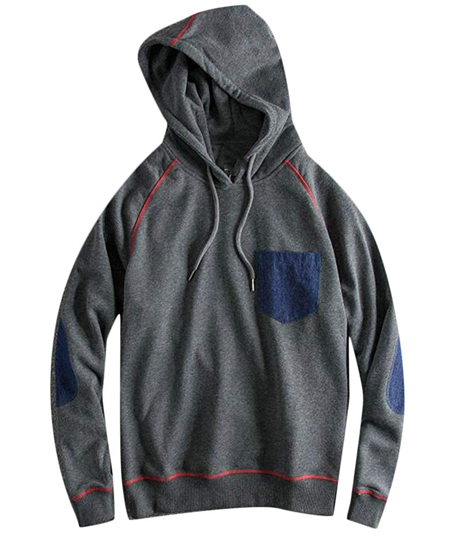 Cromoncent Mens Casual Pullover Hooded Pure Colour Patched Sweatshirts Jacket