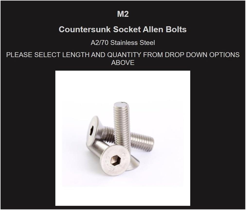 CSK Slot Head Machine Screws Packs of M2.5 M3 M4 M5 A2 S//Steel Countersunk