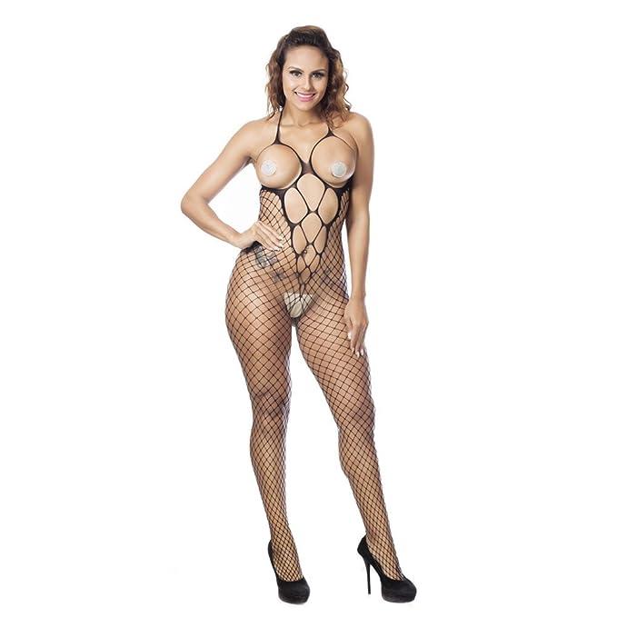 d976e20bf4e VJGOAL Mujer Sexy Malla Calada lencería Conjunta tentación Escarpada Media  Entrepierna Abierta Medias Mono lencería Ropa Interior erótica(Un tamaño