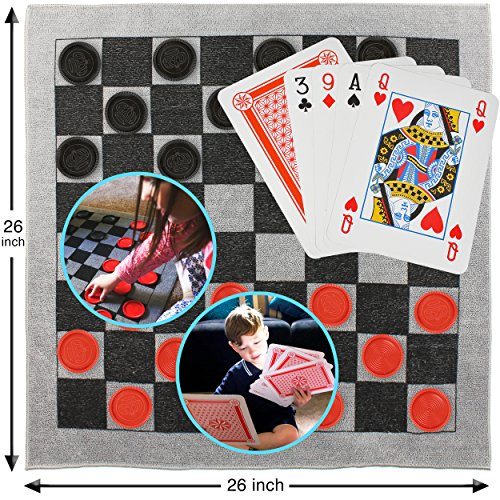 Elite Sportz Giant Card Games for kids - Giant Indoor Outdoor Yard Games including a Giant Checkers Rug for Kids and Tic Tac Toe - Durable ZipUp Carry Bag for Storage - Giants Carpet