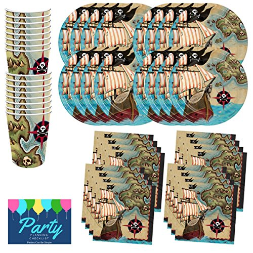 Pirate Ship Treasure Map Birthday Party Supplies Set Plates Cups Napkins Tableware Kit for 16 Guests by PCBS - Pirate Themed Party Supplies