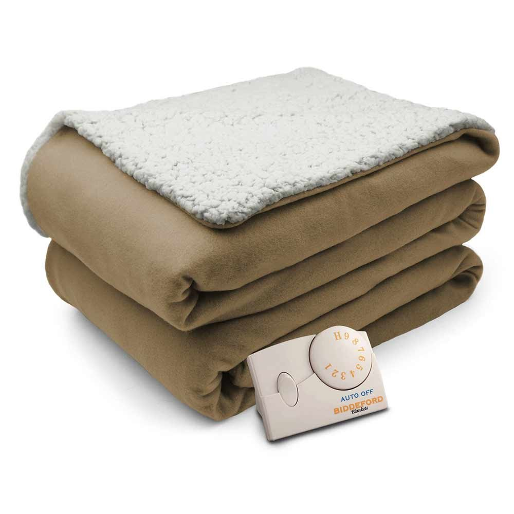 Amazon Biddeford Comfort Knit Natural Sherpa Electric Heated