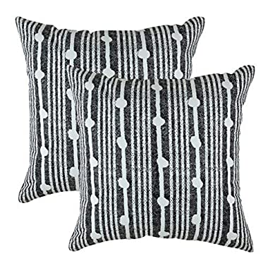 TreeWool Decorative Square Throw Pillow Covers Set Spots Accent 100% Cotton Cushion Cases Pillowcases (18 x 18 Inches / 45 x 45 cm; Black in Cream Background) - Pack of 2