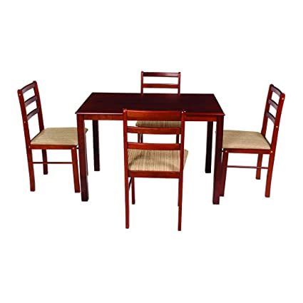 Woodness Winston Solid Wood Upholstered 4 Seater Dining Table Set  Mahogany  Dining Room Sets