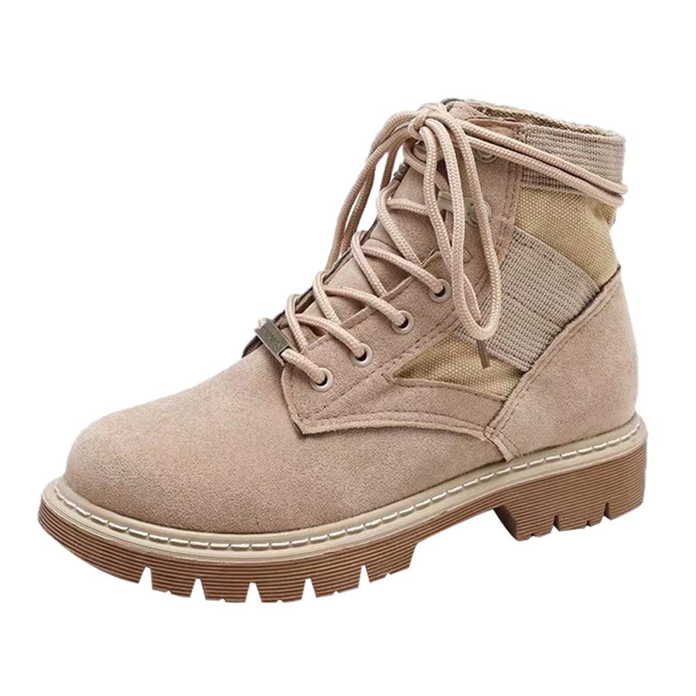 Women Round Toe Suede Leisure Flat Booties Non-Slip Wear Resistant Lace Up Martin Boots Khaki