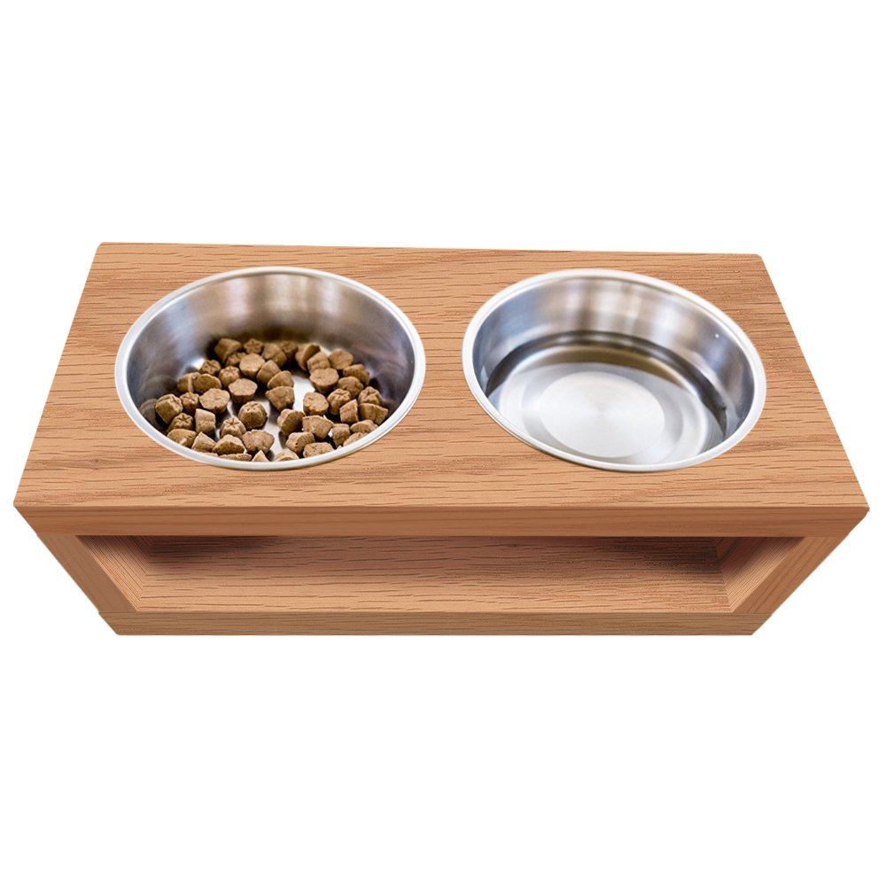 TFKitchen Unfinished Solid Oak Wood Elevated Dog and Cat Pet Feeder, Single Bowl Raised Stand (1/2 Pint), 3/4'' Thick, 10'' x 8'' x 5'' Tall by TFKitchen