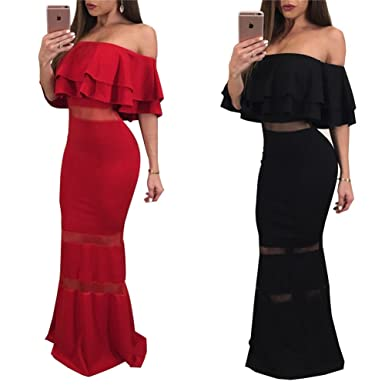 8c633968aa5 Women's Summer Off Shoulder Ruffled Bodycon Cocktail Party Club Fishtail  Dress at Amazon Women's Clothing store: