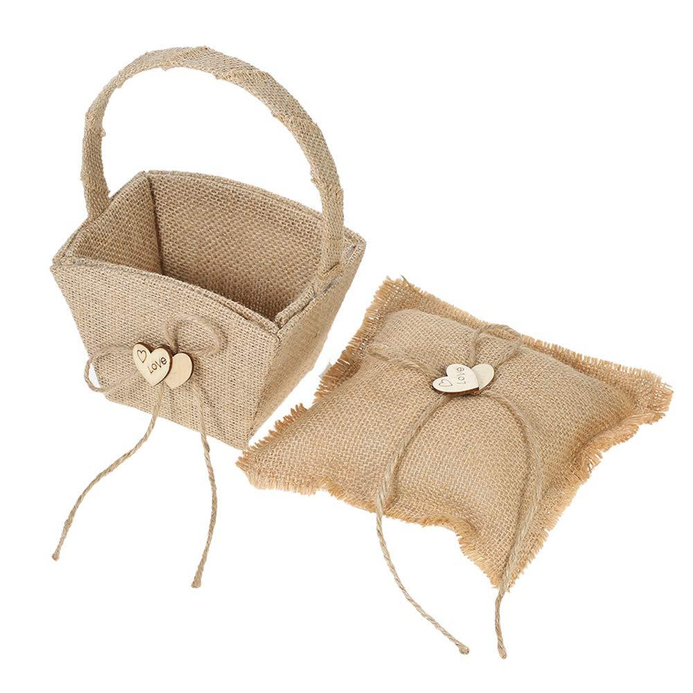 BERTERI Burlap Flower Girl Basket and Ring Bearer Pillow Set Vintage Rustic Wedding Supply Set