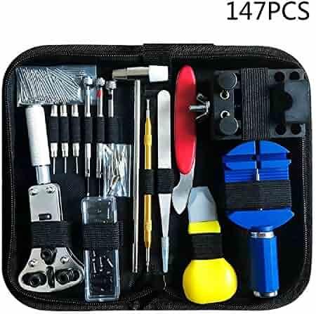 147 PCS Watch Repair Tool Kit Case - Opener Professional Spring Bar Tool Set Bonus A Hammer,Watch Band Link Pin Tool Set with Carrying Case