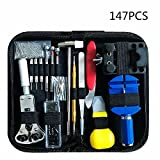 147 PCS Watch Repair Tool Kit Case Opener Professional Spring Bar Tool Set Bonus A Hammer,Watch Band Link Pin Tool Set with Carrying Case