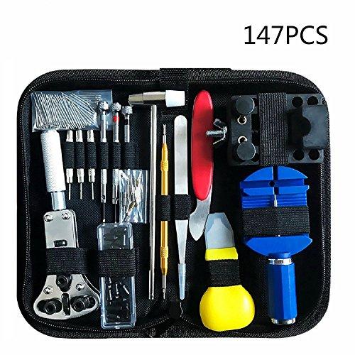 147 PCS Watch Repair Tool Kit Case Opener Professional Spring Bar Tool Set Bonus A Hammer,Watch Band Link Pin Tool Set with Carrying Case ()
