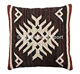 Set Of 5 Indian Decorative Jute Cushions,18x18'' Boho Pillow Shams, Handwoven Jute Rug Pillow Throw Cushions ,Kilim Cushion Cover For Living Room Brown Jute Kilim