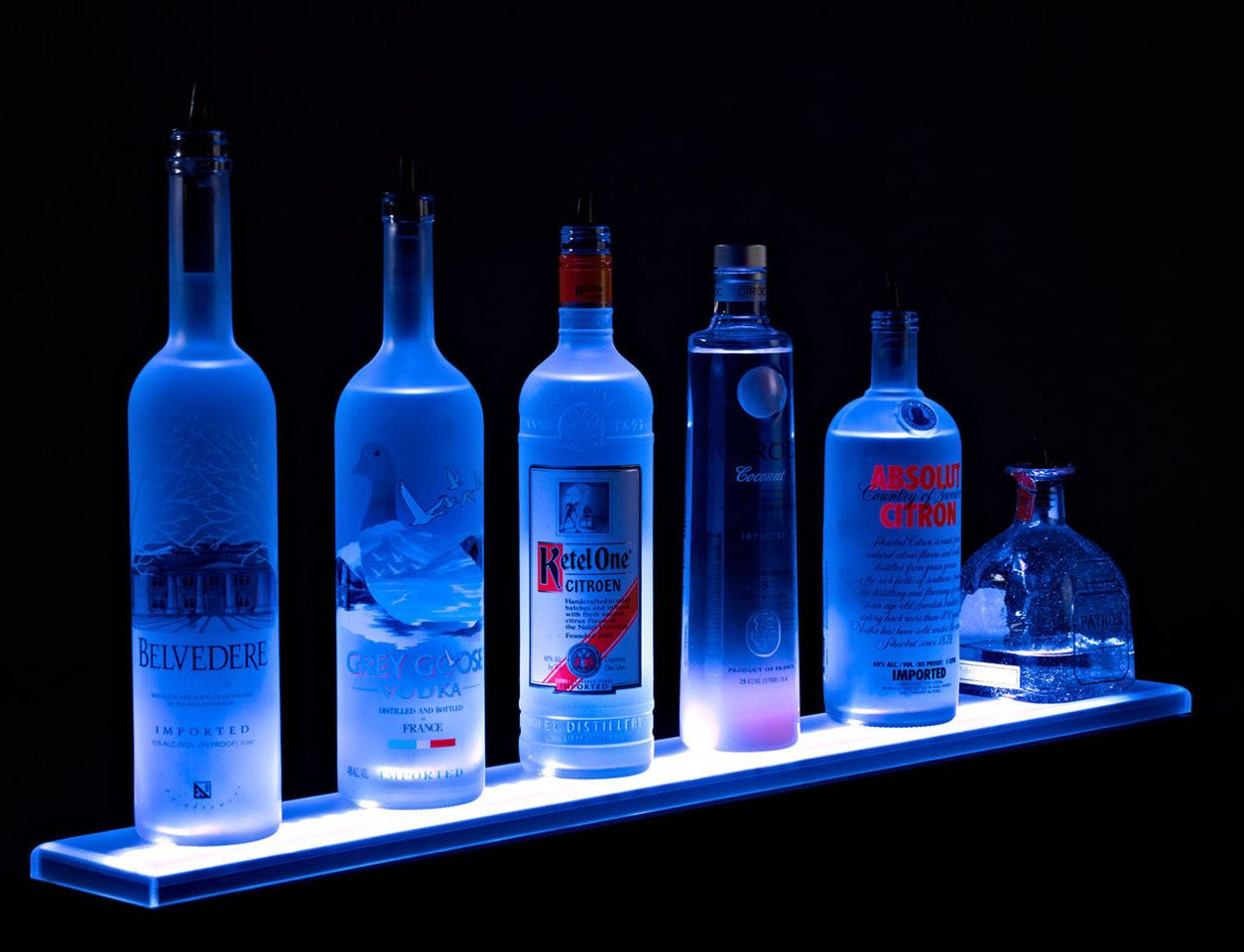 2' 3'' Long LED Liquor Bottle Shelves with Wall Mount Brackets, Wireless Remote Control, and UL Listed power supply