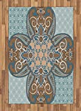 Arabian Area Rug by Lunarable, Arabian Style Geometric Pattern Islamic Persian Art Elements and Baroque Touch Art, Flat Woven Accent Rug for Living Room Bedroom Dining Room, 4 x 6 FT, Brown Teal