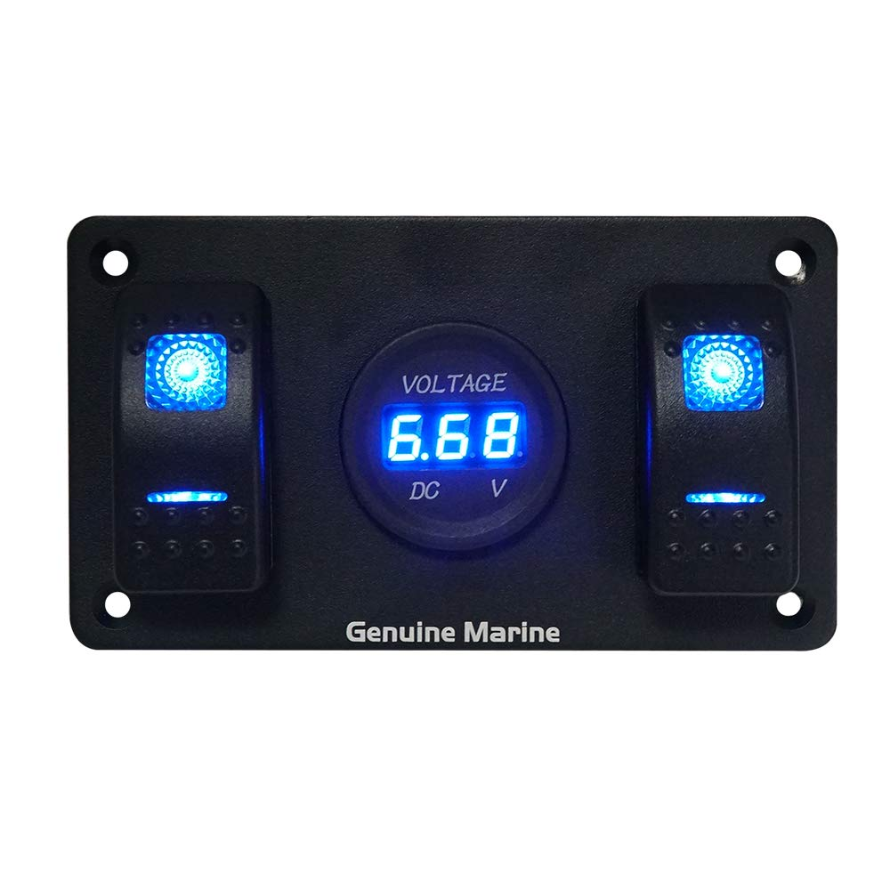 2 Gang Rocker Switch Panel with Digital Voltage Meter, Blue Indicator Switches, DC 12V-24V for Car Marine Boat Trailer Rv Vehicles Truck Touring Car by GenuineMarine