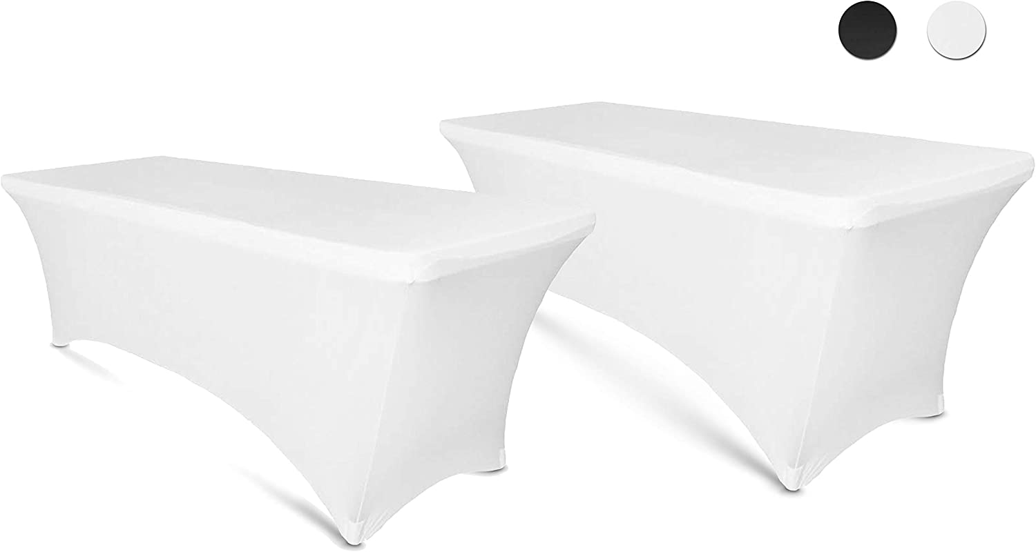 Amazon Com 6ft Tablecloth Rectangular Spandex Linen White Table Cloth Fitted Cover For 6 Foot Folding Table Wedding Linens Banquet Cloths Rectangle Covers 2 Pack Kitchen Dining