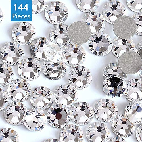 Onwon 144 Pieces SS40 / 8mm Clear Crystal Flat Back Brilliant Round Rhinestones Glass Stones Glitter Gems Transparent Faux Diamond, Non Self-Adhesive (Clear)