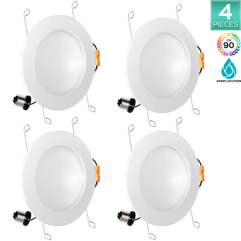 4-Pack Luxrite 6 Inch Indirect LED Recessed Light, 15W (100W Equivalent), 2700K Warm White, 1030 Lumens, Damp Rated, Dimmable LED Downlight, 150° Beam Angle, ETL Listed, CRI 90, E26 Base