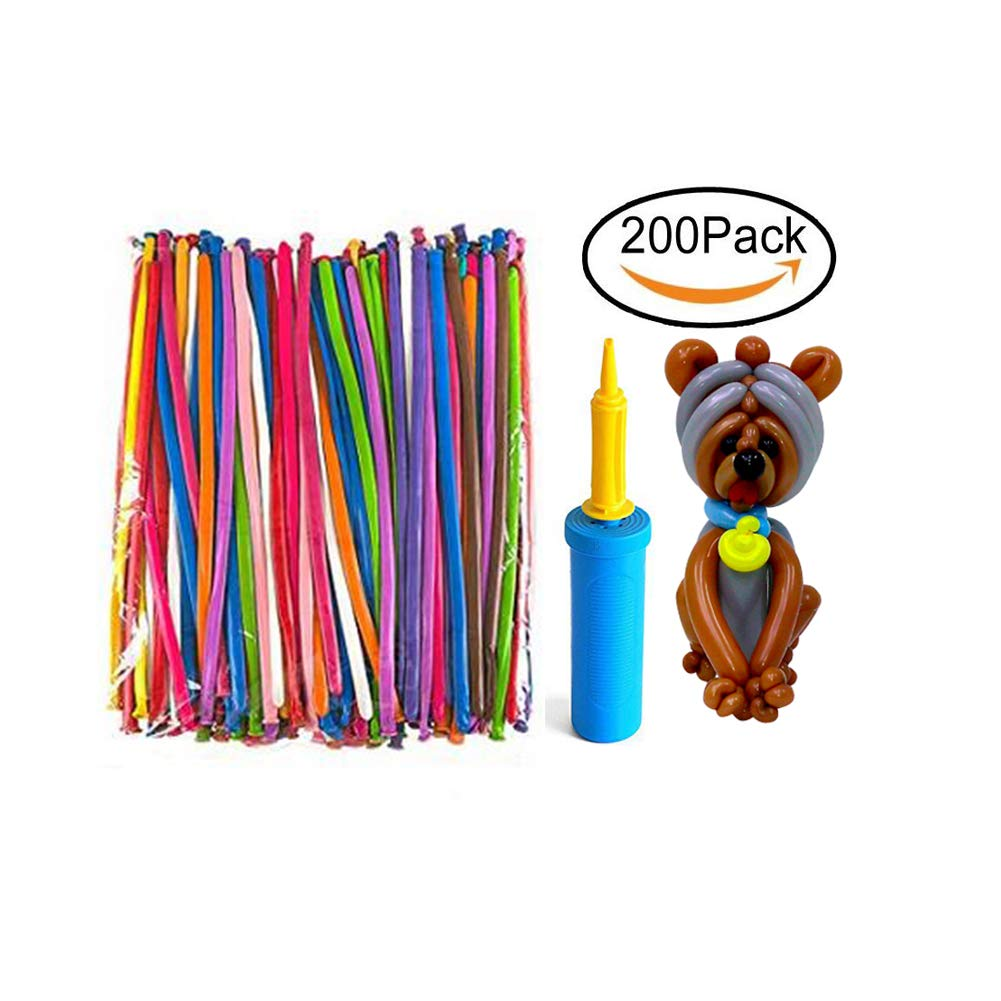 Mairola Balloon Animals Kit Twisting Balloons with Pump 200 Pack of 260Q Latex Long Balloons for Party Birthday Decoration