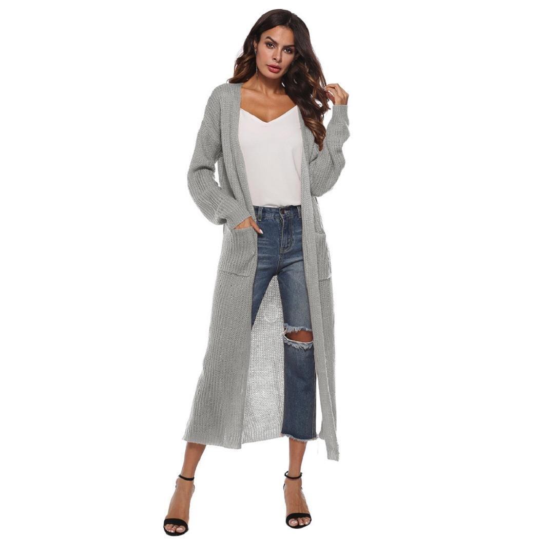 Women's Cardigan, ShenPr Long Sleeve Open Front Classic Knit Kimono Cardigan Autumn Casual Coat Blouse Jacket with Pockets (L, Gray)