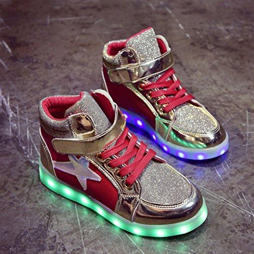Neutral Kinder hohe Schuhe Turnschuhe LED farbig blinkende Lichter, die Sterne