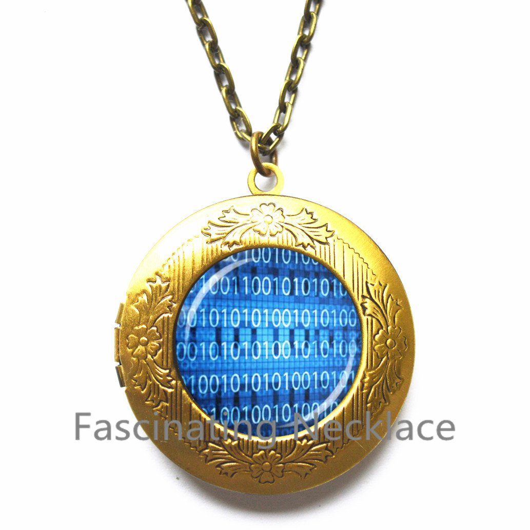 New Locket Necklace,Retro BINARY Code Matrix code Glass Dome Locket Pendant Locket Necklace DIY Handmade Fashion Computer Jewelry Charm Blue Gift,AE0015
