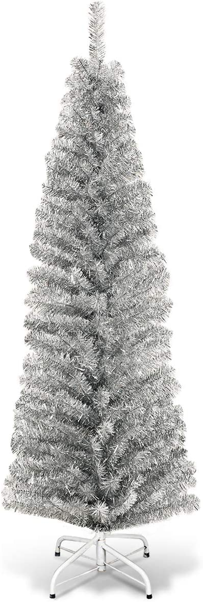 Goplus 6ft Sliver Pencil Christmas Tree, Artificial Slim Tree, Electroplated Technology, Xmas Decor for Indoor and Outdoor