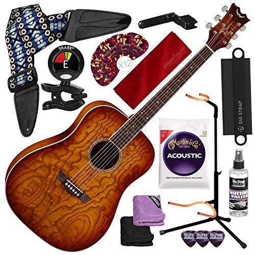 Dean AXS DREAD QUILT ASH Acoustic Guitar, Tobacco Sunburst with Guitar Strap and Massaging Shoulder Strap Attachment + Complete Guitar Accessory Bundle (Dean Ax Dqa Acoustic Guitar)