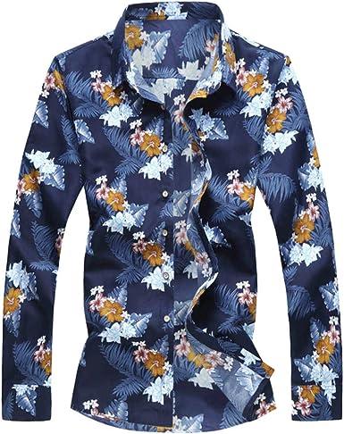SoonerQuicker Camisa de Hombre Camisas de Moda de otoño para Hombre Casual de Manga Larga Tops de Playa Blusa Informal Suelta: Amazon.es: Ropa y accesorios
