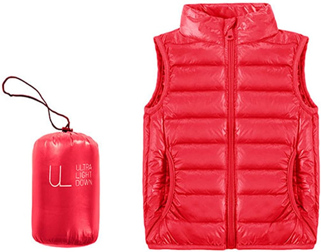 GWELL Kids Ultralight Puffer Vest Packable Stand Collar Short Down Jacket Outwear Vest for Spring or Autumn,Purple