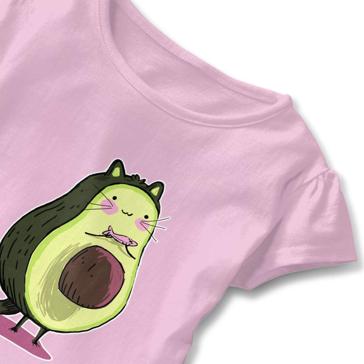 Avocuddled Cute Cat Toddler Ruffle T-Shirt Cotton Tees for 2-6T