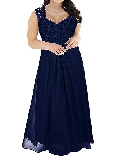 Nemidor Womens Lace Top Deep V-Neck Plus Size Evening Vintage Maxi Dress(Navy