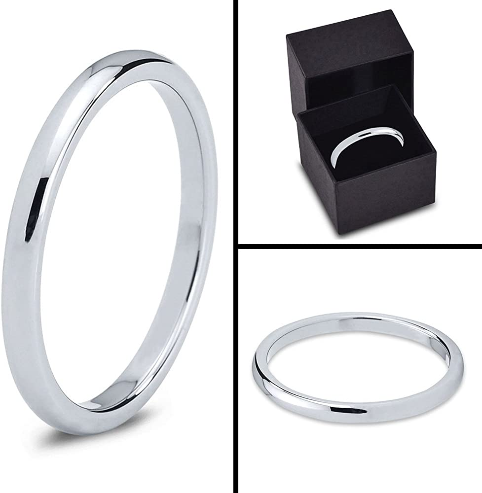 Tungsten Wedding Band Ring 2mm Men Women Comfort Fit Grey Dome Polished