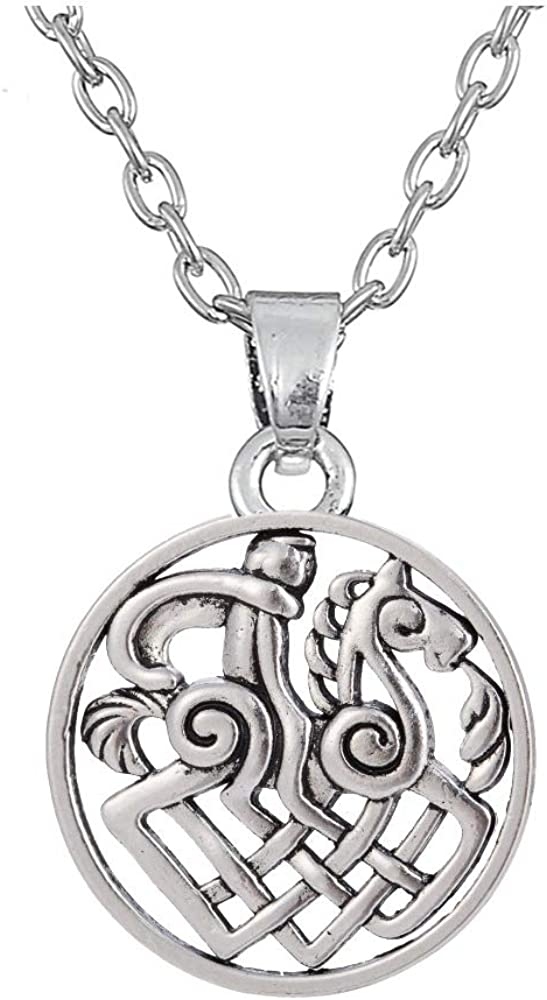 VAWAA Collar Thor Loki Asgard Caballo Sleipnir Odin Amuleto Nórdico para Hombre Joyas