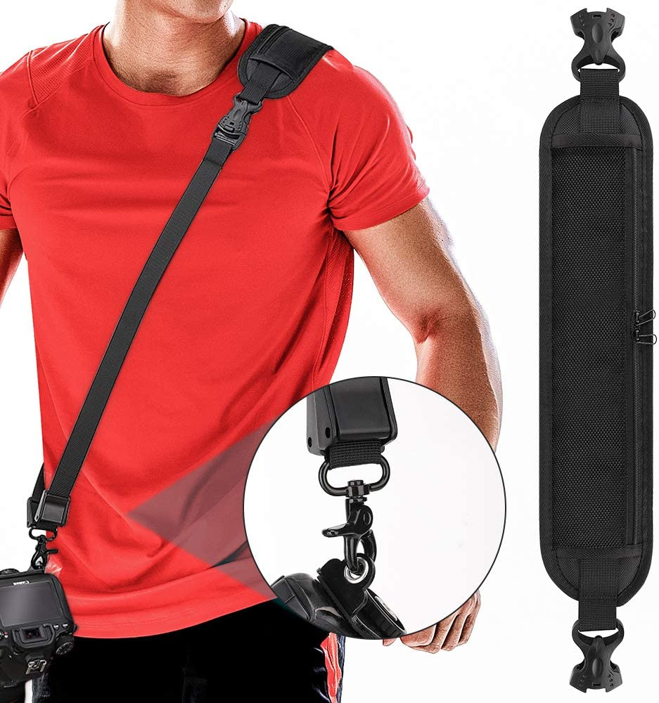 MoKo Camera Shoulder Neck Strap with Quick Release and Storage Pocket for Men/Women, Long Adjustable Padded Sling Belt for Screw Mount DSLR Digital Camera Canon, Nikon, Sony - Black