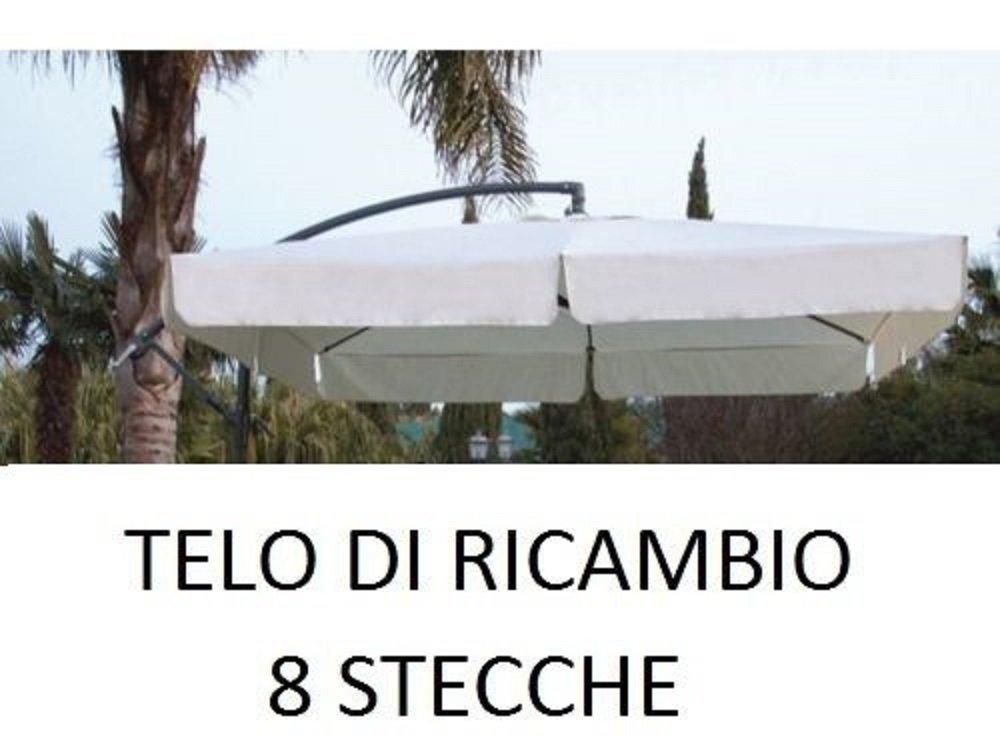 Megashopitalia Top Telo di Ricambio per Ombrellone Decentrato in Alluminio 2,5 x 2,5 Metri a 8 Stecche con Airvent Cucito Colore Ecr/ù Solo Telo