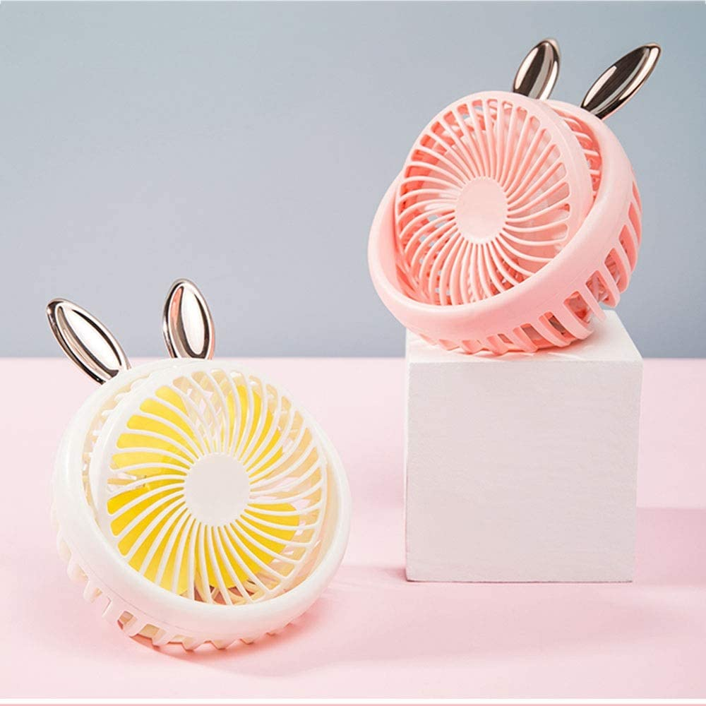 Handheld Electric Fan Small USB Mini Silent Desktop Fan Three Speeds Color : White Student Dormitory Office