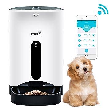 Petwant GemPet Alimentador programable automático para Mascotas, con Grabador de Voz, dispensador de Alimentos Secos y húmedos, para Perros pequeños y ...