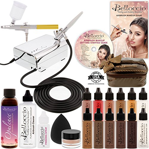 Belloccio Makeup and Tanning Airbrush System with DARK Foundation and Blush Set