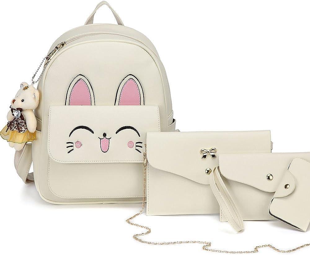 PU Leather Shoulder Bag,Brown Cat Fashion Backpack,Portable Travel School Rucksack,Satchel with Top Handle