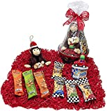 Goin' Nuts Christmas Savory Gourmet Gift Basket - Light Up Tree Ornament, Plush Holiday Monkey & Assortment of Gourmet Flavored Peamuts