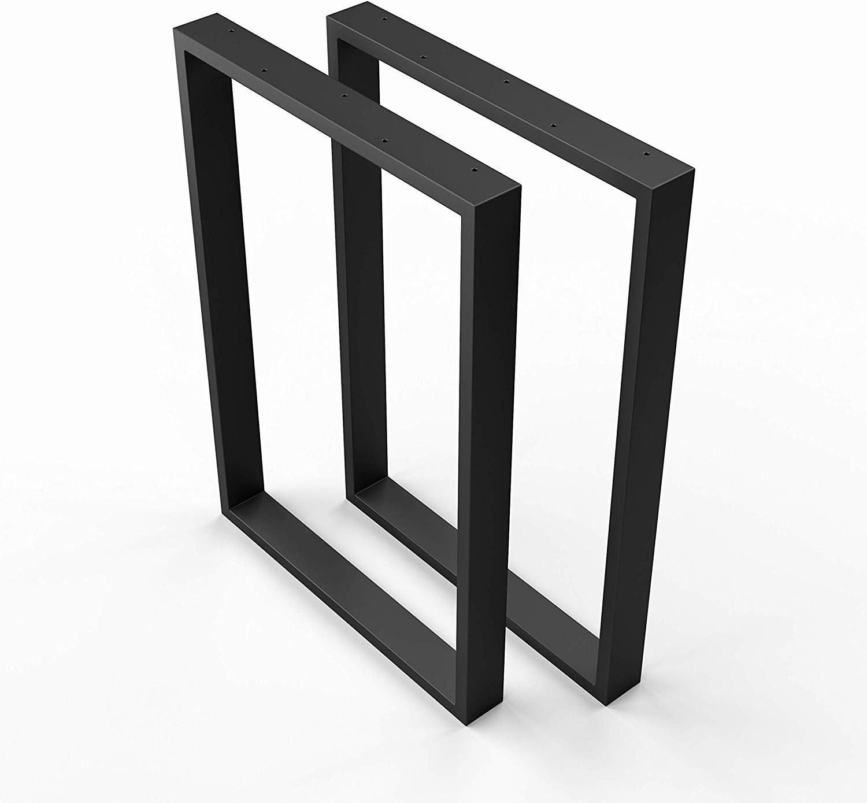 Sossai Mesa Estructura Acero | 2 Piezas | pie de Mesa | Ancho 50 cm x Altura 72 cm TKK1 | Color: Negro (con Recubrimiento de Polvo)
